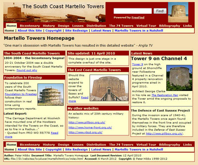 The South Coast Martello Towers website
